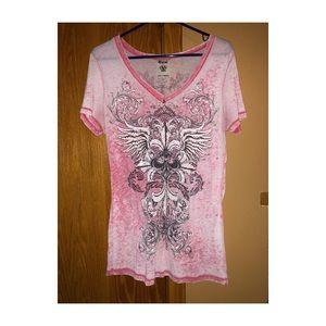 ☠️VOCAL☠️ pink rhinestone shirt